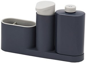 Pompe savon rangement 3 pi ces sinkbase gris joseph for Rangement savon